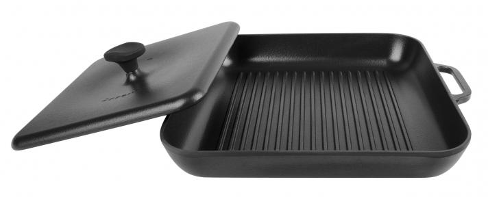 Сковорода гриль чугунная эмалированная квадратная с прессом (280х280х40) (Эмаль Матовая)