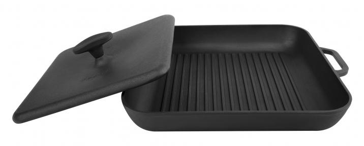 Сковорода гриль чугунная квадратная с прессом (280х280х40)