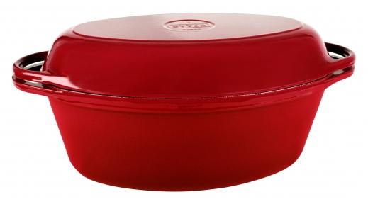 Утятница (Гусятница) чугунная с крышкой-сковородой  бордовая