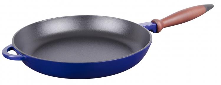 Сковорода чугунная с деревянной ручкой синяя(Эмаль Глянцевая)
