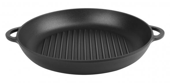 Сковорода гриль чугунная эмалированная с двумя литыми ручками (Эмаль Матовая)