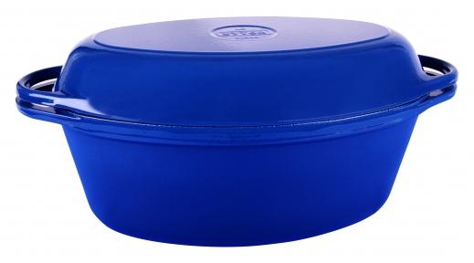 Утятница чугунная (Гусятница) с крышкой-сковородой (цвет синий, Эмаль Глянцевая)