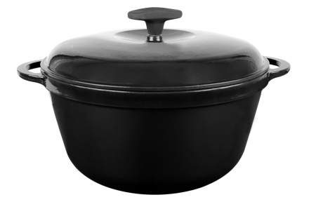 Кастрюля чугунная с крышкой (цвет черный, Эмаль Глянцевая)