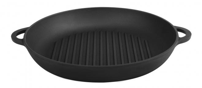 Сковорода гриль чугунная с двумя литыми ручками