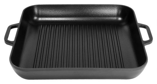Сковорода гриль чугунная эмалированная квадратная (280х280х40) (Эмаль Матовая)