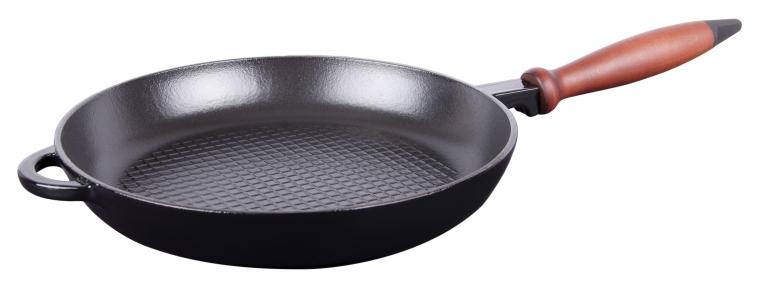 Сковорода чугунная с деревянной ручкой рифленое дно черная (Эмаль Глянцевая)